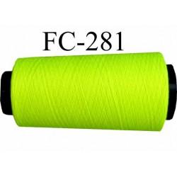 Cone ( Economique ) de fil  polyester  fil n°120 couleur jaune fluo longueur du cone 5000 mètres bobiné en France