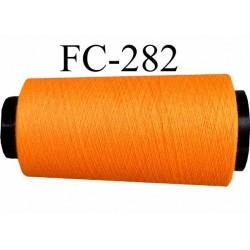 Cone ( Economique ) de fil  polyester  fil n°120 couleur orange fluo longueur du cone 5000 mètres bobiné en France