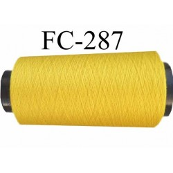 Cone ( Economique ) de fil  polyester  fil n°120 couleur jaune longueur 1000 mètres bobiné en France fil de très bonne qualité