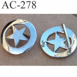 boucle en métal chromé en forme d'étoile diamètre 42 mm passage de ceinture 30 mm boule pour le trou de ceinture 3.5 mm