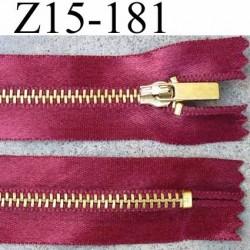 fermeture zip à glissière longueur 15 cm couleur bordeau satin  non séparable largeur 2.8 cm glissière métal largeur zip 4.5 mm