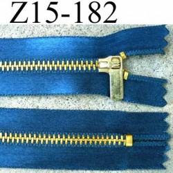 fermeture zip à glissière longueur 15 cm couleur bleu satin  non séparable largeur 2.8 cm glissière métal largeur zip 4.5 mm