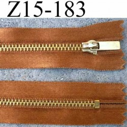 fermeture zip à glissière longueur 15 cm couleur bronze satin  non séparable largeur 2.8 cm glissière métal largeur zip 4.5 mm