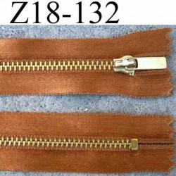 fermeture zip à glissière longueur 18 cm couleur bronze satin  non séparable largeur 2.8 cm glissière métal largeur zip 4.5 mm
