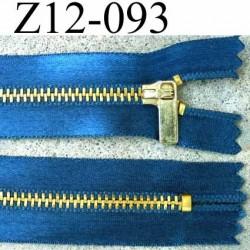 fermeture zip à glissière longueur 12 cm couleur bleu satin non séparable largeur 2.8 cm glissière métal largeur zip 4.5 mm