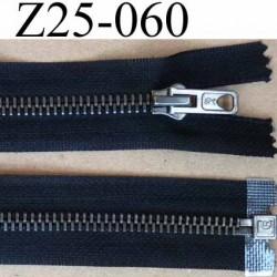 fermeture zip à glissière métal laiton longueur 25 cm couleur noir séparable zip métal largeur 3 cm largeur glissière 6 mm