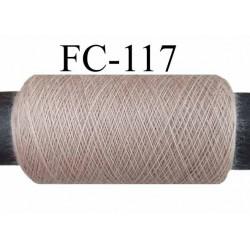 bobine de fil  n° 120 polyester beige mastic longueur de la bobine 200 mètres bobiné en France
