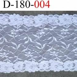 dentelle blanche superbe thème fleurs largeur 180 mm lycra élastique couleur blanc prix au mètre