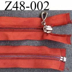 ( 2ém choix déstockage ) fermeture zip longueur 48 cm couleur orange séparable zip nylon largeur 3.3 cm largeur du zip 6 mm