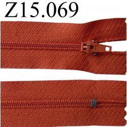 fermeture éclair 15 cm couleur rouille  zip nylon non séparable