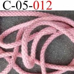 cordon en coton couleur rose  solide diamètre 5 mm prix au mètre