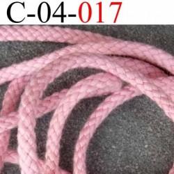 cordon 100 % coton superbe souple  couleur rose diamètre 4 mm prix au  mètre