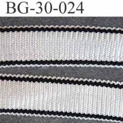 tresse rayé Ruban gallon 68 % visc 13 % acry et 10 % poly couleur blanc cassé écru et noir  largeur 30 mm  pris au mètre