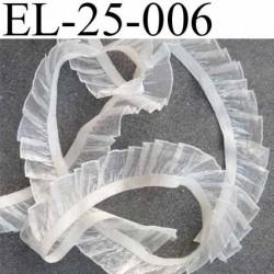 élastique plat avec de la dentelle froncé ou froufrou couleur écru brillant plus que sur la photo  largeur 25 mm prix au mètre