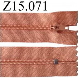 fermeture éclair 15 cm couleur rose saumon  zip nylon non séparable