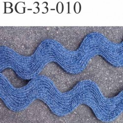 biais ruban croquet serpentine galon plat  largeur 33 mm épaisseur 2 mm couleur bleu prix au mètre