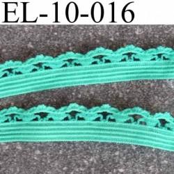 élastique picot dentelle plat largeur 10 mm couleur vert lagon prix au mètre