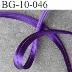 biais galon ruban passe poil largeur 10 mm couleur violet satin brillant avec cordon intérieur coton 2 mm  prix au mètre