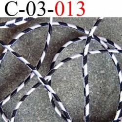 cordon synthétique très très solide superbe couleur noir et blanc largeur 3 mm épaisseur 1 mm prix au mètre