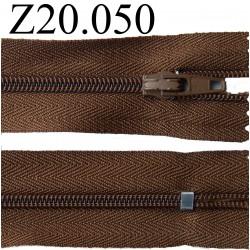 fermeture éclair 20 cm couleur marron  zip nylon non séparable