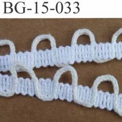 biais  coton galon ruban dentelle boucle boutonnière couleur blanc et boucle écru clair largeur 15 mm