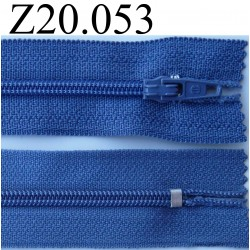 fermeture éclair 20 cm couleur bleu  zip nylon non séparable
