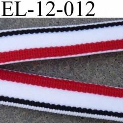 élastique plat largeur 12 mm couleur rouge blanc et noir très belle qualité prix au mètre