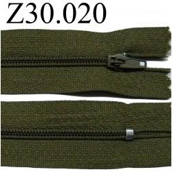fermeture éclair 30 cm couleur vert kaki  zip nylon non séparable