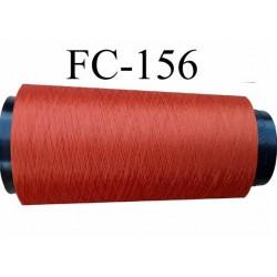 Cone de fil mousse polyester texturé fil n° 120 couleur rouille longueur du cone 2000 mètres bobiné en France