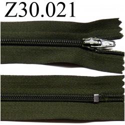 fermeture éclair 30 cm couleur kaki foncé  zip nylon non séparable