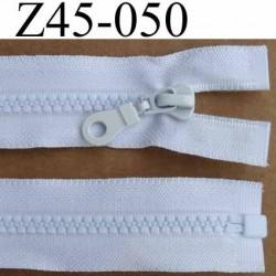 fermeture zip  blanche longueur 45 cm couleur blanc séparable largeur 3.2 cm largeur du zip moulé spirale 6 mm curseur métal