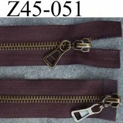 fermeture 45 cm marron double curseur largeur 3.2 cm  non séparable zip métal laiton largeur 6 mm
