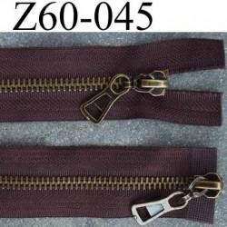 fermeture 60 cm marron double curseur largeur 3.2 cm  non séparable zip métal laiton largeur 6 mm