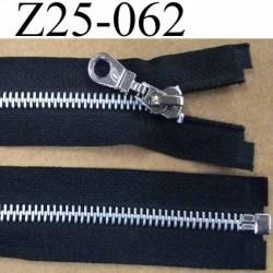 fermeture zip à glissière métal  longueur 25 cm couleur noir séparable zip métal largeur 3.2 cm largeur glissière 6 mm