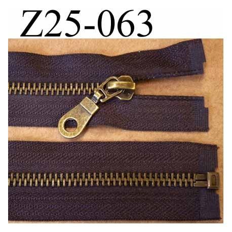 fermeture zip à glissière métal  longueur 25 cm couleur marron séparable zip métal largeur 3.2 cm largeur glissière 6 mm