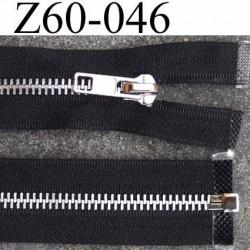 fermeture zip à glissière métal  longueur 60 cm couleur noir séparable zip métal largeur 3.2 cm largeur glissière 6 mm