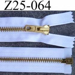 fermeture zip à glissière métal laiton doré longueur 25 cm couleur blanc séparable zip métal largeur 3 cm largeur glissière 6 mm