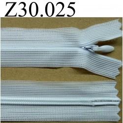 fermeture éclair invisible 30 cm couleur blanche  zip nylon non séparable