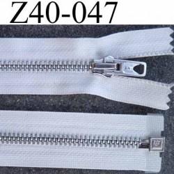 fermeture zip  longueur 40 cm couleur naturel séparable double curseur zip métal largeur 3 cm largeur du zip 6 mm