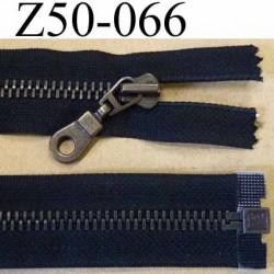 fermeture zip à glissière métal nickel laiton  longueur 50 cm couleur anthracite  séparable zip métal 6 mm  largeur 3 cm