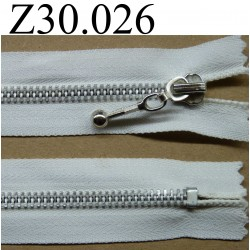 fermeture éclair  30 cm couleur blanche  zip métal non séparable