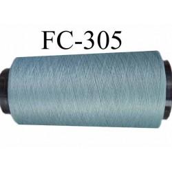 Cone de fil mousse texuré polyester fil n°100 couleur bleu gris longueur 1000 mètres bobiné en France