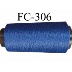Cone de fil mousse texuré polyester fil n°100 couleur bleu longueur 1000 mètres bobiné en France