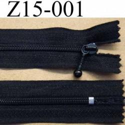 fermeture à glissière longueur 15 cm couleur noir non séparable zip nylon