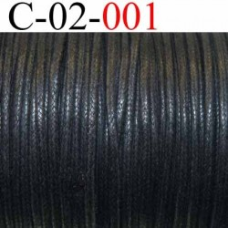 cordon en coton ciré couleur noir diamètre 2 mm vendu au mètre