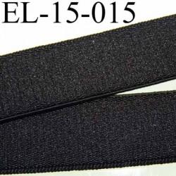 élastique plat très belle qualité surpiqure sur les bords couleur noir brillant satiné sur une face largeur 15 mm vendu au mètre