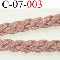 cordon tresse plat et épais largeur 7 mm épaisseur 2 mm couleur vieux rose ou rosé beige superbe très très solide prix au mètre