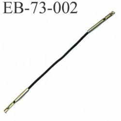 Lien élastique avec 2 embouts en métal chromé couleur noir longueur 7 cm diamètre élastique 1 mm diamètre embout 2 mm