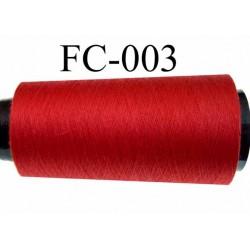 Cone de fil (économique) polyester n° 120 couleur rouge  longueur du cone 2000 mètres  bobiné en France