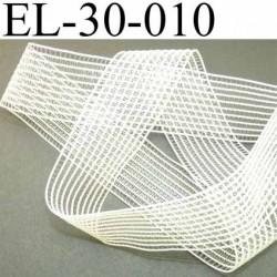 élastique plat fronceur ou à froncer ou à smock largeur 30 mm couleur blanc écru très belle qualité prix au mètre